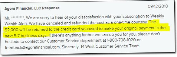 Agora Financial Complaint Resolution
