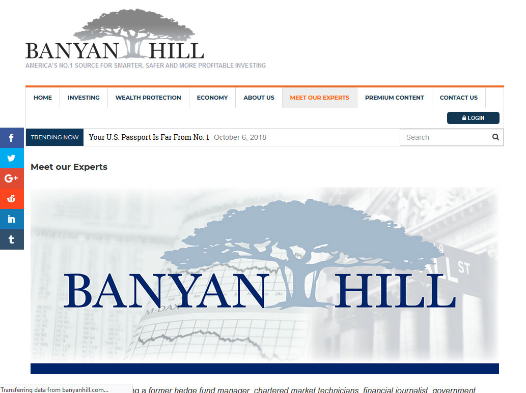 Banyan Hill Publishing Website Screenshot
