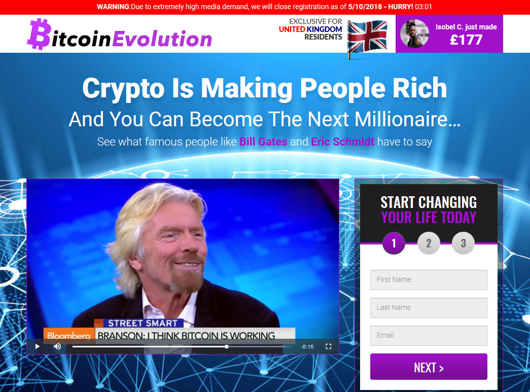 Bitcoin Evolution System Website Screenshot