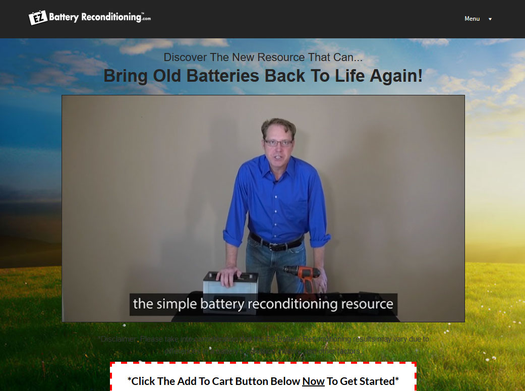 EZ Battery Reconditioning Website Screenshot