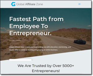 Global Affiliate Zone Website Screenshot