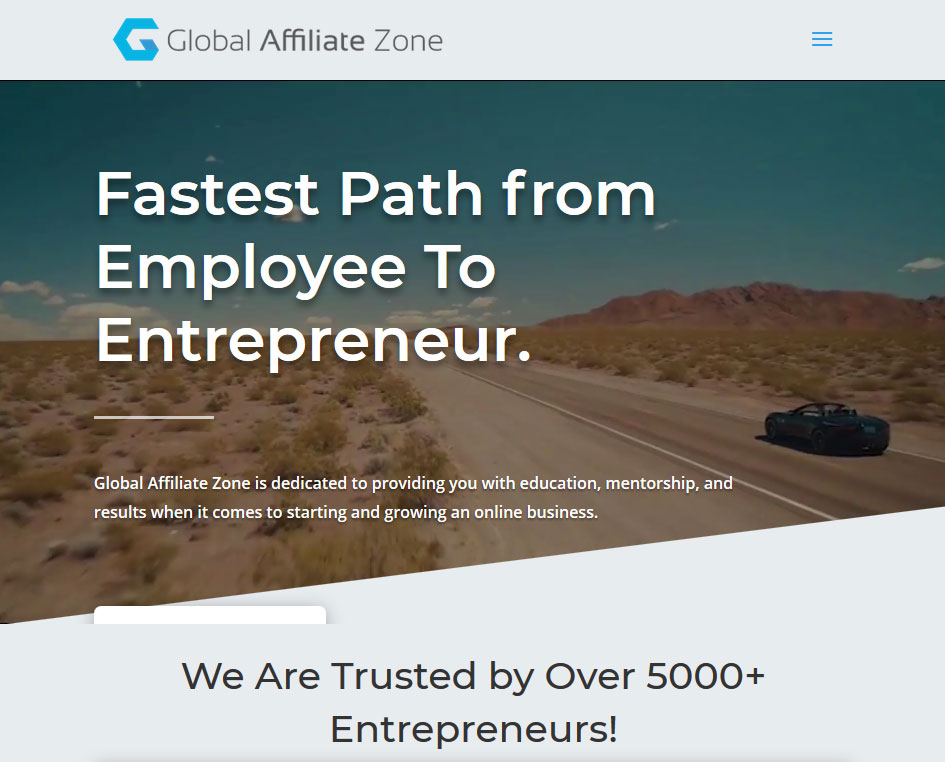 Global Affiliate Zone Website Screenshot