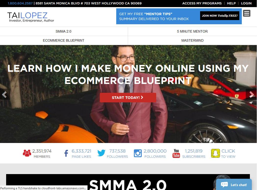 Tai Lopez Website Screenshot