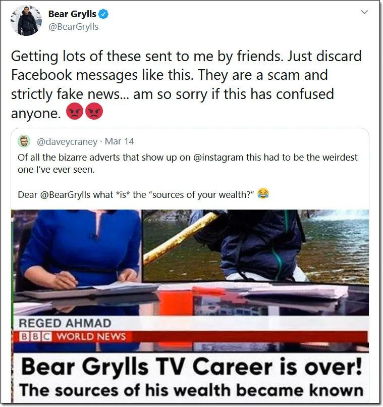 Bear Grylls Scam Tweet