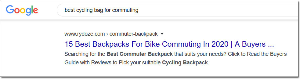 Google Cycling Backpacks Search Results Example